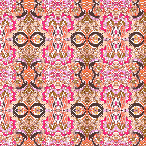 Love in Peach and Semi Sweet Chocolate  fabric by edsel2084 on Spoonflower - custom fabric