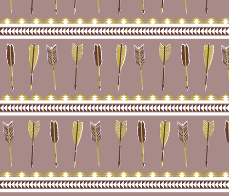 aztec arrows -mauve & olive fabric by ravynka on Spoonflower - custom fabric