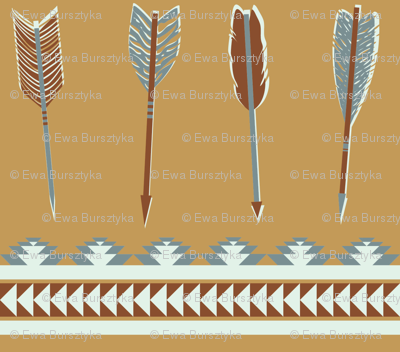 aztec arrows - cinnamon, brown & steel blue