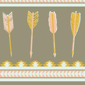 aztec arrows - gray, yellow & pink
