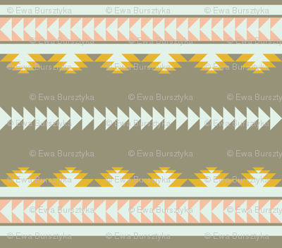 aztec stripes - gray, yellow & pink