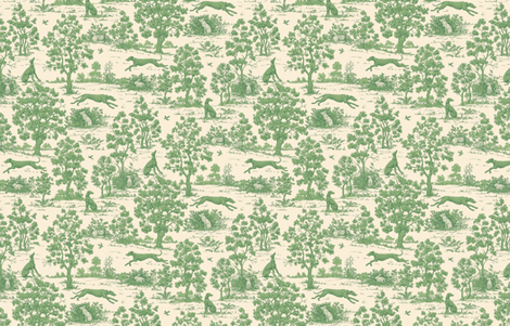 Green Light Antique Greyhound Toile ©2012 by Jane Walker fabric by artbyjanewalker on Spoonflower - custom fabric