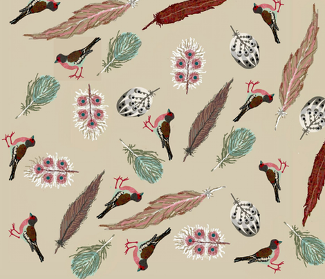 fancy feathers and birds fabric by paragonstudios on Spoonflower - custom fabric