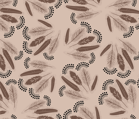 Feather_bunches_black fabric by natasha_k_ on Spoonflower - custom fabric