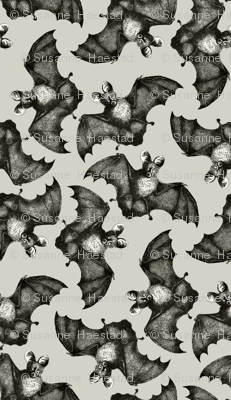 Bats on the run beige background