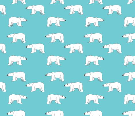 Polar Bears on Teal fabric by carinaenvoldsenharris on Spoonflower - custom fabric