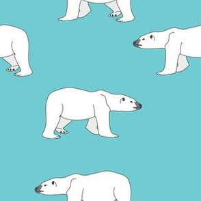Polar Bears on Teal
