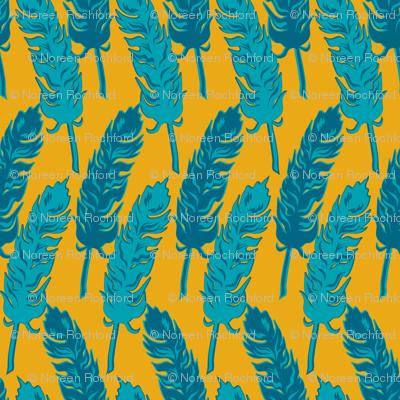blue feathers on orange