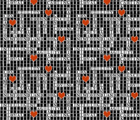 Newfoundland dog crossword Puzzle fabric by dogdaze_ on Spoonflower - custom fabric