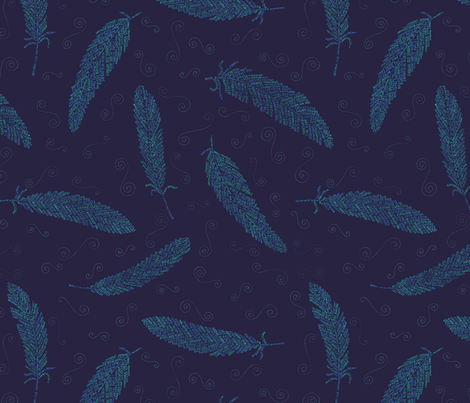 birds of a feather (blue) fabric by weavingmajor on Spoonflower - custom fabric