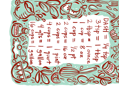 Recipe Conversion Chart Fabric Gsonge Spoonflower