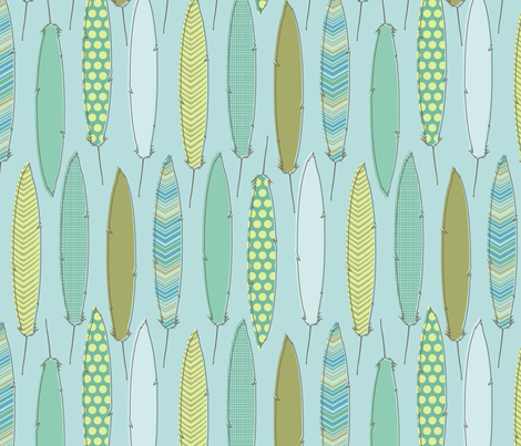 spa feathers fabric by littlerhodydesign on Spoonflower - custom fabric
