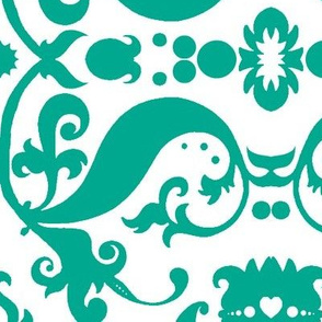 Damask with white hearts turquoise on white