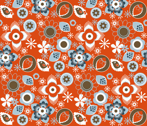 Mod Feathers Flowers fabric by natitys on Spoonflower - custom fabric