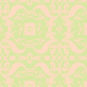 Damask with pale green and cream