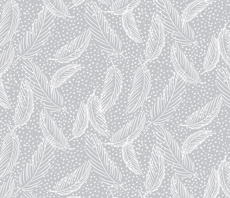 Snowy feathers fabric by needlebook on Spoonflower - custom fabric