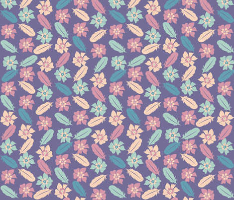 Flowers and Feathers fabric by jbhorsewriter7 on Spoonflower - custom fabric