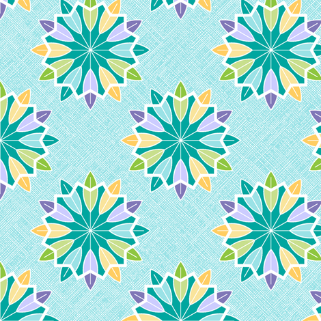 Feather Rosette - Aqua fabric by inscribed_here on Spoonflower - custom fabric