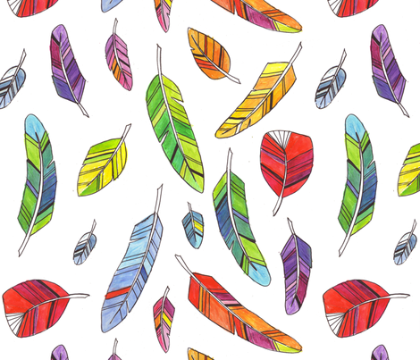 Spike's Feathers fabric by jenimp on Spoonflower - custom fabric