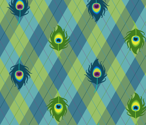 Peacock Argyle (Green) fabric by pyralisdesign on Spoonflower - custom fabric