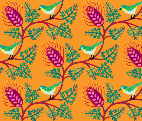 Grevillea & Silvereye fabric by yellowstudio on Spoonflower - custom fabric