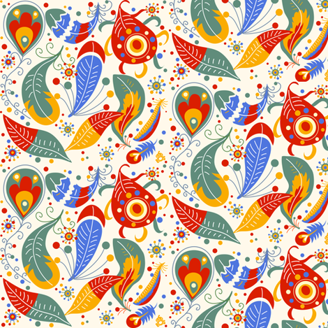 Paisley Feathers fabric by irrimiri on Spoonflower - custom fabric