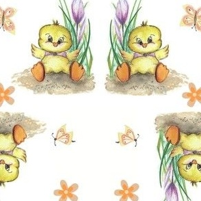 Easter Chicken, Spring Fabric, yellow, white, green, purple