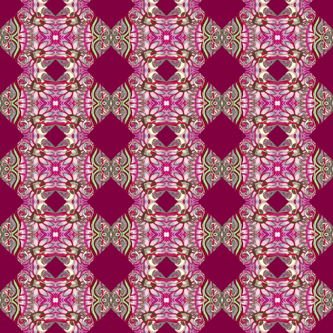 Hearts, Flowers, and Butterfly magenta cheater quilt fabric by edsel2084 on Spoonflower - custom fabric