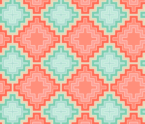 coral mint kilim diamond fabric by scrummy on Spoonflower - custom fabric