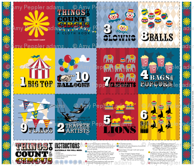 Things to Count at the Circus: A Cloth Book || children baby nursery kids cut and sew vintage western carnival counting typography numbers diy