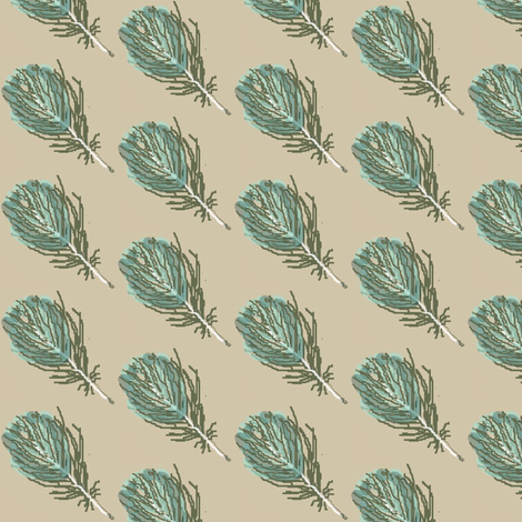feather aqua fabric by paragonstudios on Spoonflower - custom fabric