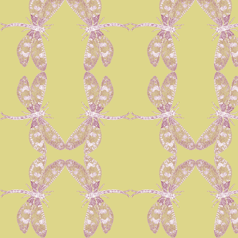 Snow Dragonfly (ochre/maroon) fabric by relative_of_otis on Spoonflower - custom fabric