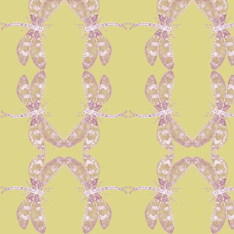 Snow Dragonfly (ochre/maroon) fabric by relative_of_otis on Spoonflower - custom fabric