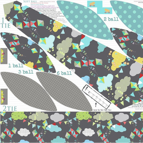 tie and ball cut and sew pattern- template