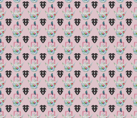 Mom's Bluebird and Teapot, pink with black hearts fabric by karenharveycox on Spoonflower - custom fabric