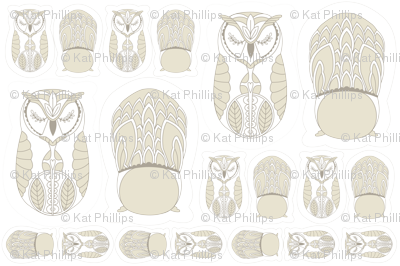 Owl Dolls & Appliqués in Gray and Linen