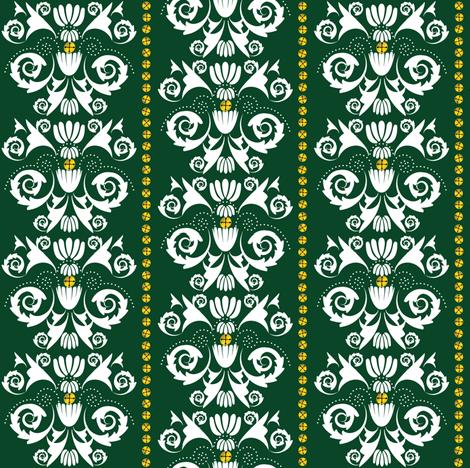 Jingle Bell Damask - Green fabric by owlandchickadee on Spoonflower - custom fabric