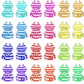 12 mini rainbow Cheshire cats on a swatch
