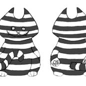 6 black Cheshire cat ragdolls on a swatch