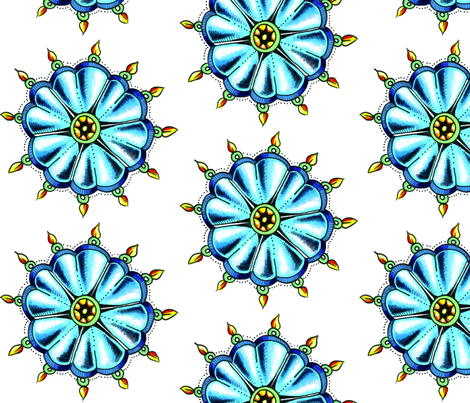 wheel_flower_cropped_large_size-ed fabric by miraculousmosquito on Spoonflower - custom fabric
