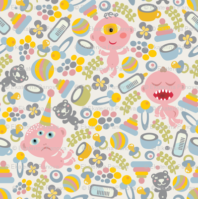 Baby monsters fabric panova spoonflower for Baby monster fabric