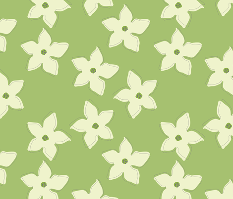 Nicotiana Flowers fabric by roarin_betty on Spoonflower - custom fabric