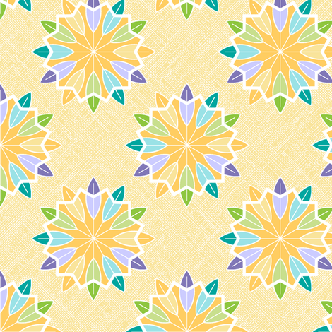 Feather Rosette - Sunshine fabric by inscribed_here on Spoonflower - custom fabric