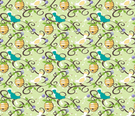 All About the Birds and the Bees in Spring - Green fabric by inscribed_here on Spoonflower - custom fabric