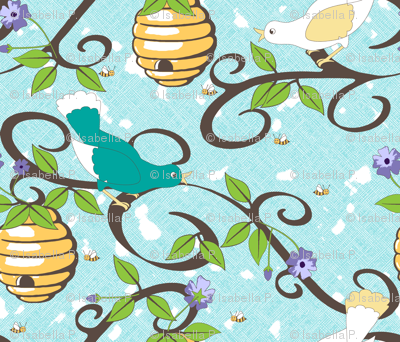 All About the Birds and the Bees in Spring  - Aqua