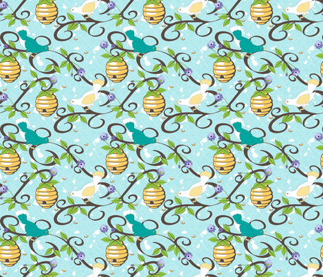 All About the Birds and the Bees in Spring  - Aqua fabric by inscribed_here on Spoonflower - custom fabric