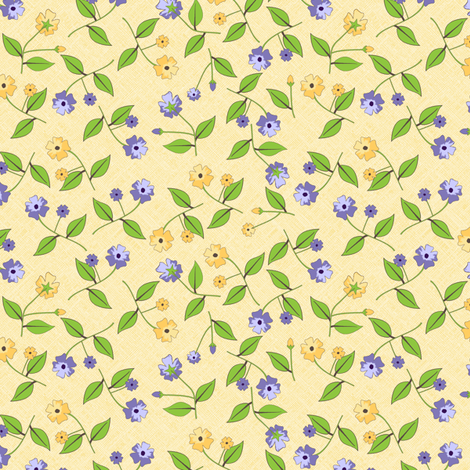 Flowers for the Pretty Birds - Sunshine fabric by inscribed_here on Spoonflower - custom fabric
