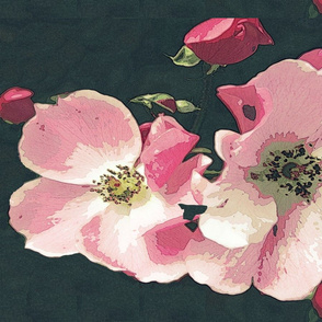 Wild roses tea towel - summer