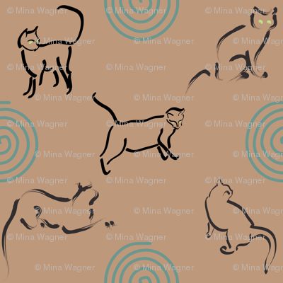 Lt Copper 25 fabric with cats and spirals for Tia