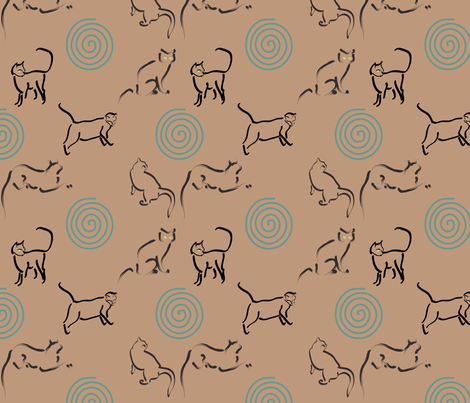 Lt Copper 25 fabric with cats and spirals for Tia  fabric by mina on Spoonflower - custom fabric